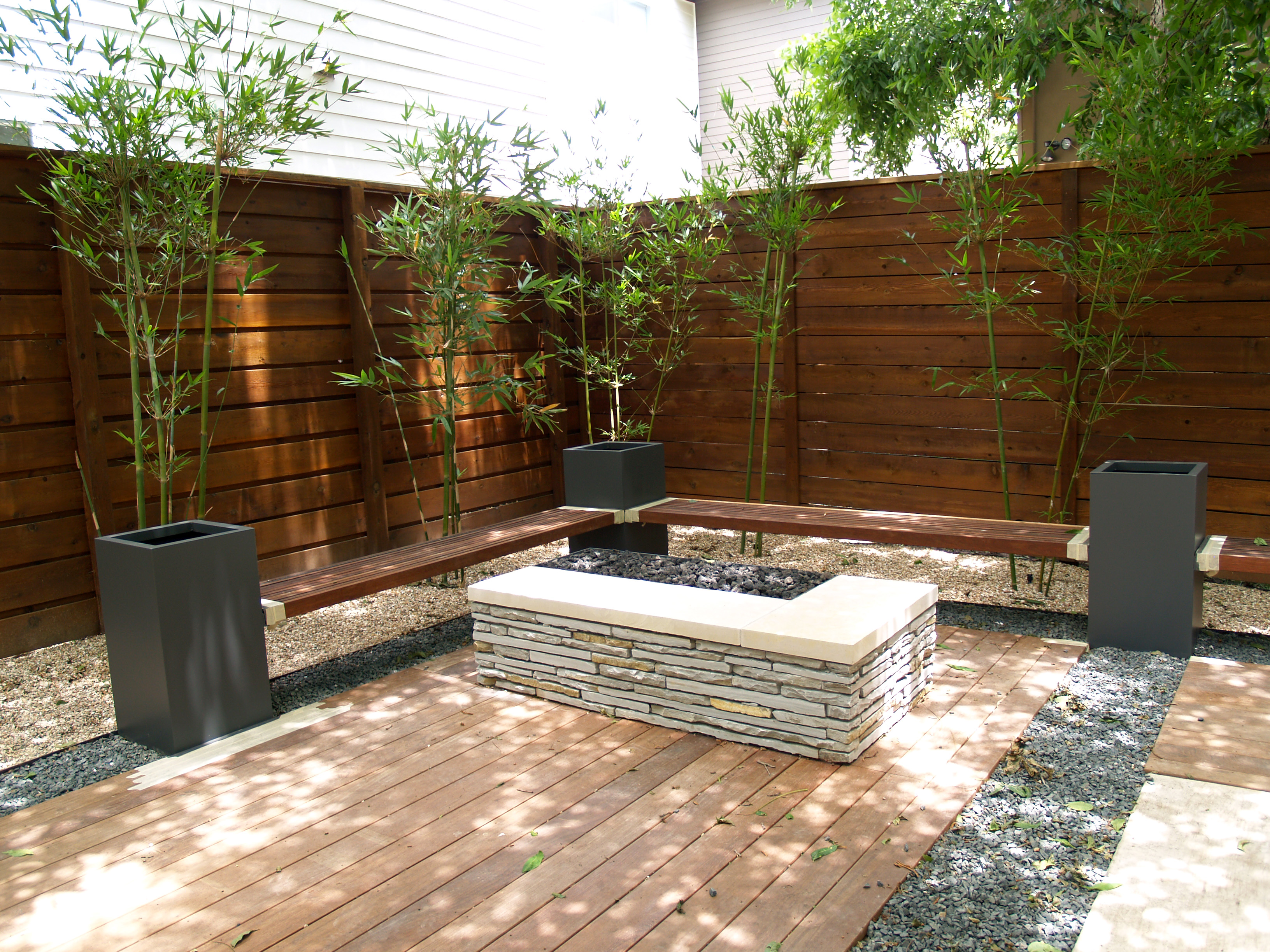 Japanese Home Design Studio Apartments Steel Planters Wood Benches And Bamboo Final Touches